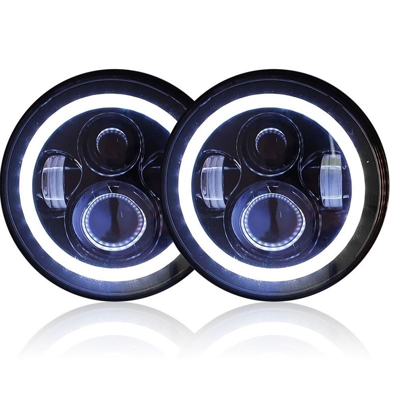 "GENSSI 7"" ROUND HALO PROJECTOR HEADLAMPSET H6024 B"