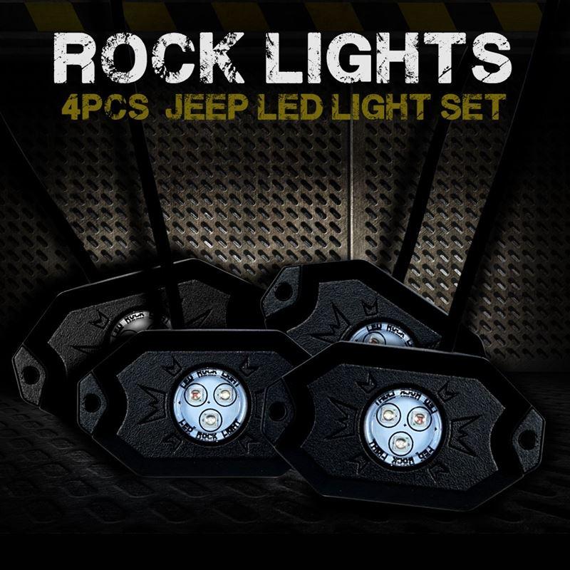 4PC RGB LED COLOR WATERPROOF WIRELESS ROCK LIGHTS