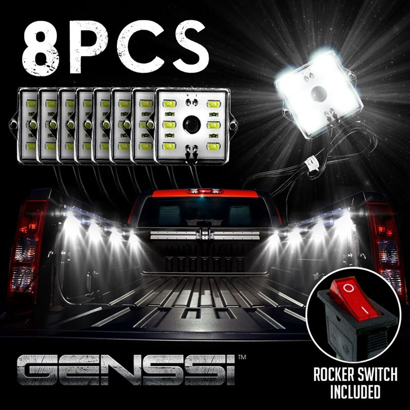 48 LED WHITE 8 MODULE EXTERIOR TRUCK BED LIGHTS